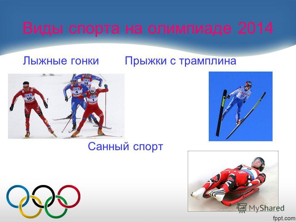 Виды спорта на олимпиаде 2014 Лыжные гонки Прыжки с трамплина Санный спорт