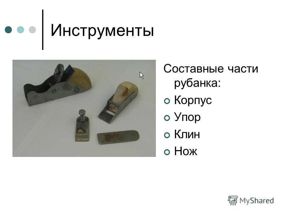 Инструменты Составные части рубанка: Корпус Упор Клин Нож
