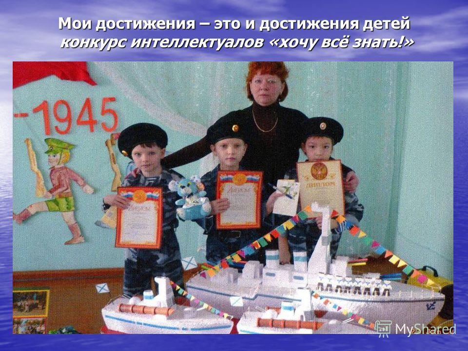Мои достижения – это и достижения детей конкурс интеллектуалов «хочу всё знать!»