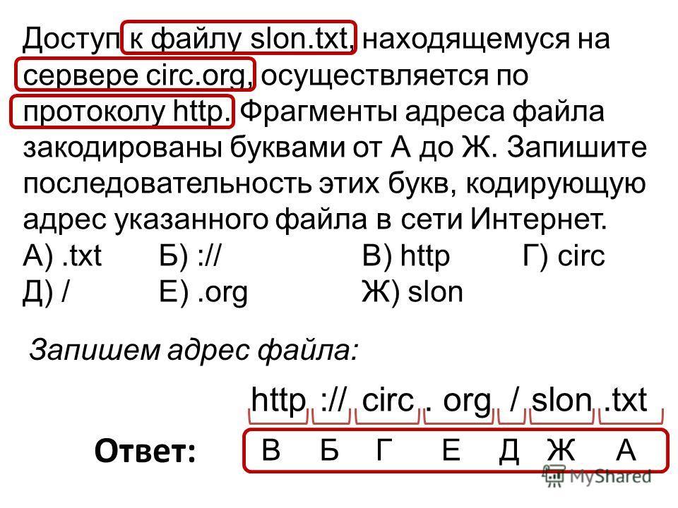 Доступ к файлу slon.txt, находящемуся на сервере circ.org, осуществляется по протоколу http. Фрагменты адреса файла закодированы буквами от А до Ж. Запишите последовательность этих букв, кодирующую адрес указанного файла в сети Интернет. A).txt Б) :/