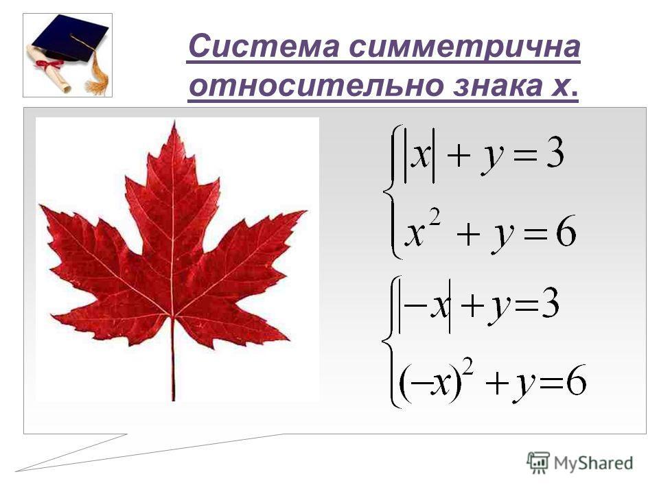 Система симметрична относительно знака x.