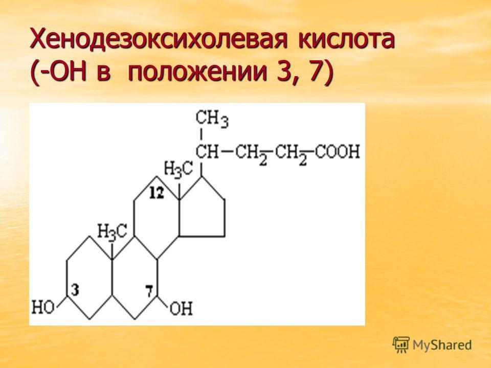 Хенодезоксихолевая кислота (-ОН в положении 3, 7)