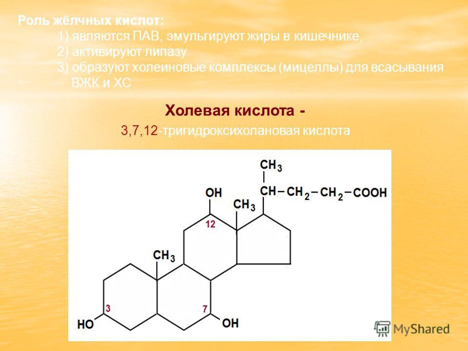 Холевая кислота - 3,7,12-тригидроксихолановая кислота Роль жёлчных кислот: 1) являются ПАВ, эмульгируют жиры в кишечнике, 2) активируют липазу 3) образуют холеиновые комплексы (мицеллы) для всасывания ВЖК и ХС