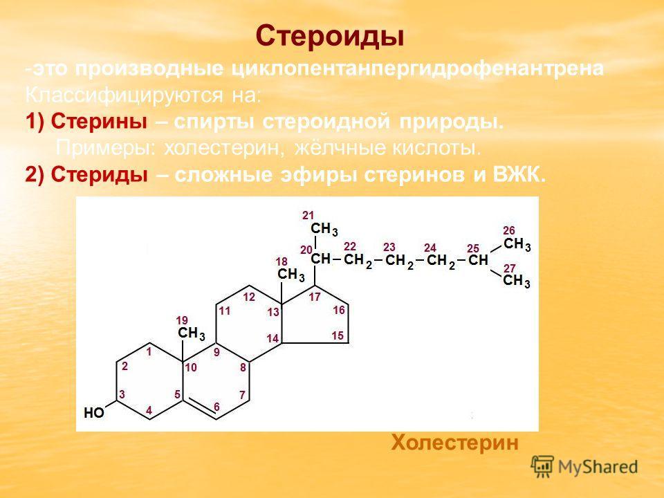 Стероиды -это производные циклопентанпергидрофенантрена Классифицируются на: 1) Стерины – спирты стероидной природы. Примеры: холестерин, жёлчные кислоты. 2) Стериды – сложные эфиры стеринов и ВЖК. Холестерин
