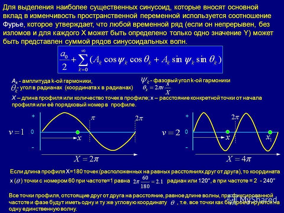 Для выделения наиболее существенных синусоид, которые вносят основной вклад в изменчивость пространственной переменной используется соотношение Фурье, которое утверждает, что любой временной ряд (если он непрерывен, без изломов и для каждого X может