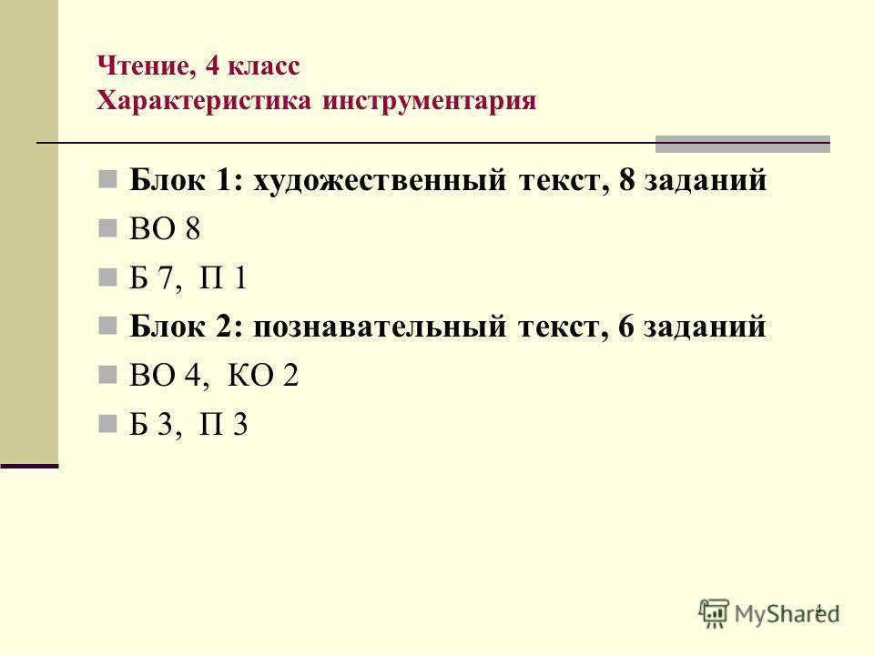 4 Чтение, 4 класс Характеристика инструментария Блок 1: художественный текст, 8 заданий ВО 8 Б 7, П 1 Блок 2: познавательный текст, 6 заданий ВО 4, КО 2 Б 3, П 3