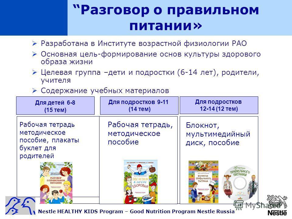 Nestle HEALTHY KIDS Program – Good Nutrition Program Nestle Russia Разработана в Институте возрастной физиологии РАО Основная цель-формирование основ культуры здорового образа жизни Целевая группа –дети и подростки (6-14 лет), родители, учителя Содер