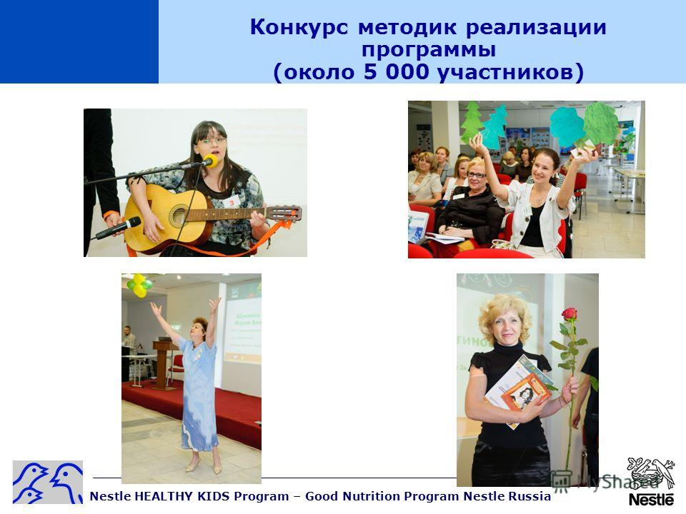 Nestle HEALTHY KIDS Program – Good Nutrition Program Nestle Russia Конкурс методик реализации программы (около 5 000 участников)