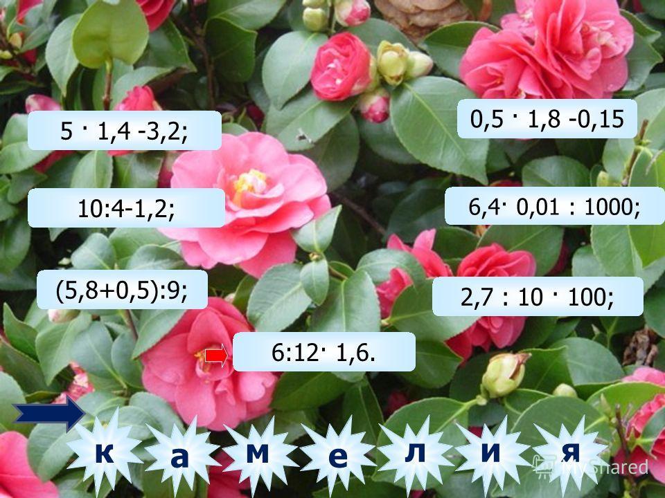 5 · 1,4 -3,2; 10:4-1,2; (5,8+0,5):9; 6:12· 1,6. 0,5 · 1,8 -0,15 6,4· 0,01 : 1000; 2,7 : 10 · 100; лм е ки а 1,60,80,961,20,98