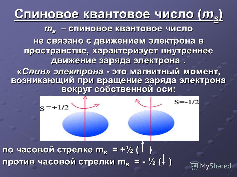 Спиновое квантовое число (m s ) m s – спиновое квантовое число не связано с движением электрона в пространстве, характеризует внутреннее движение заряда электрона. «Спин» электрона - это магнитный момент, возникающий при вращение заряда электрона вок