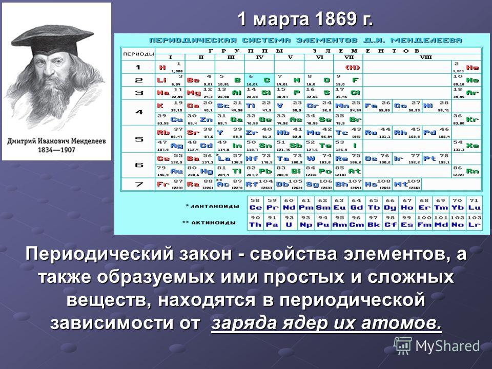 1 марта 1869 г. Периодический закон - свойства элементов, а также образуемых ими простых и сложных веществ, находятся в периодической зависимости от заряда ядер их атомов.