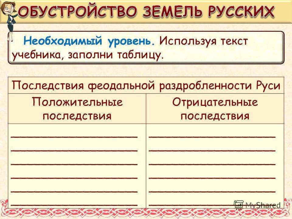 Необходимый уровень. Используя текст учебника, заполни таблицу. Последствия феодальной раздробленности Руси Положительные последствия Отрицательные последствия __________________
