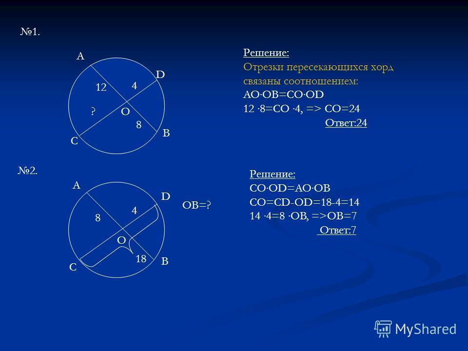 12 8 4 ?О А D B C 1. 2. A B C D 8 4 18 О Решение: Отрезки пересекающихся хорд связаны соотношением: AOOB=COOD 12 8=CO 4, => CO=24 Ответ:24 Решение: COOD=AOOB CO=CD-OD=18-4=14 14 4=8 OB, =>OB=7 Ответ:7 OB=?