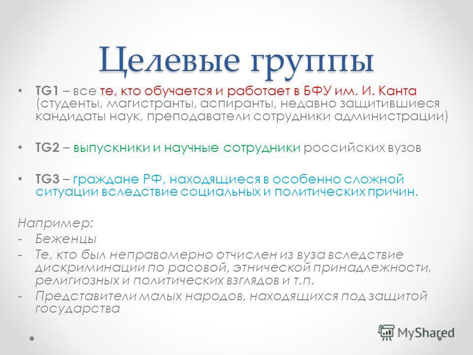 Целевые группы TG1 – все те, кто обучается и работает в БФУ им. И. Канта (студенты, магистранты, аспиранты, недавно защитившиеся кандидаты наук, преподаватели сотрудники администрации) TG2 – выпускники и научные сотрудники российских вузов TG3 – граж