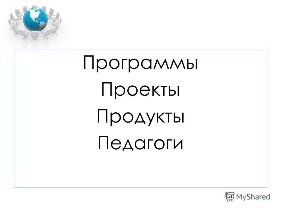 Программы Проекты Продукты Педагоги