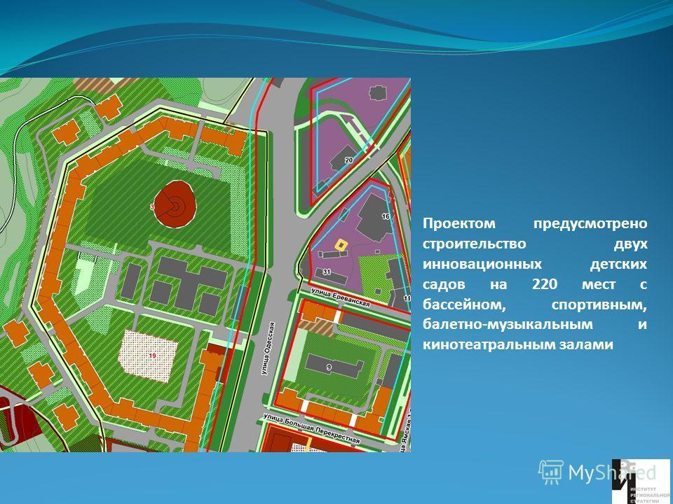 Проектом предусмотрено строительство двух инновационных детских садов на 220 мест с бассейном, спортивным, балетно-музыкальным и кинотеатральным залами