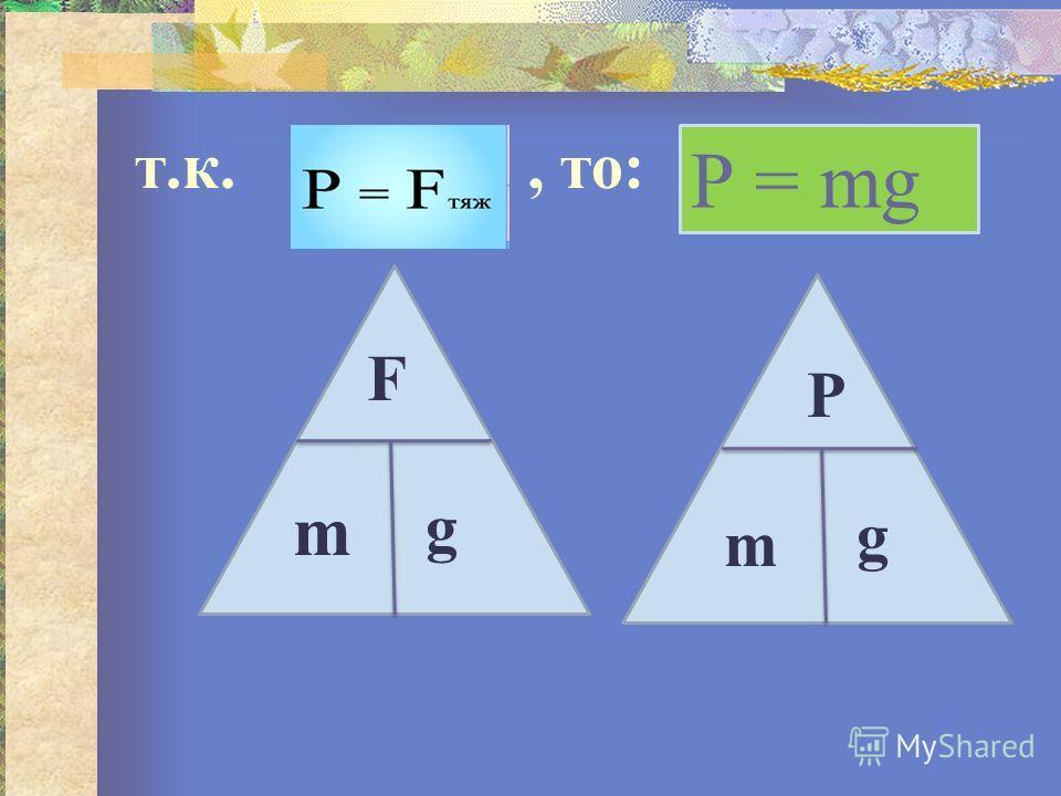 т.к., то: Р = mg F m g P m g
