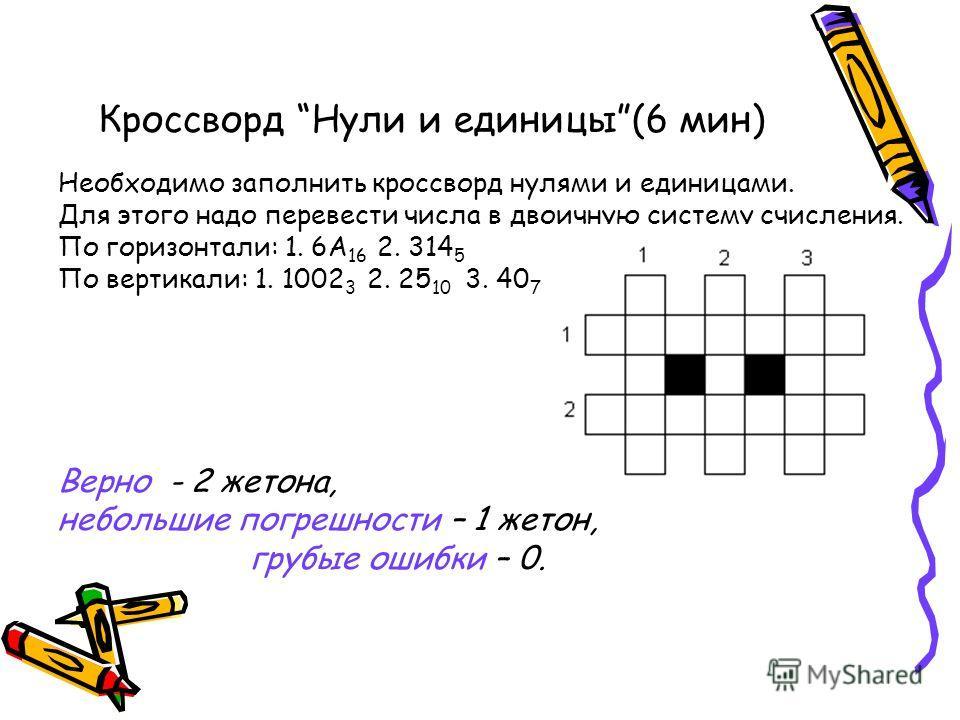 Кроссворд Нули и единицы(6 мин) Необходимо заполнить кроссворд нулями и единицами. Для этого надо перевести числа в двоичную систему счисления. По горизонтали: 1. 6А 16 2. 314 5 По вертикали: 1. 1002 3 2. 25 10 3. 40 7 Верно - 2 жетона, небольшие пог