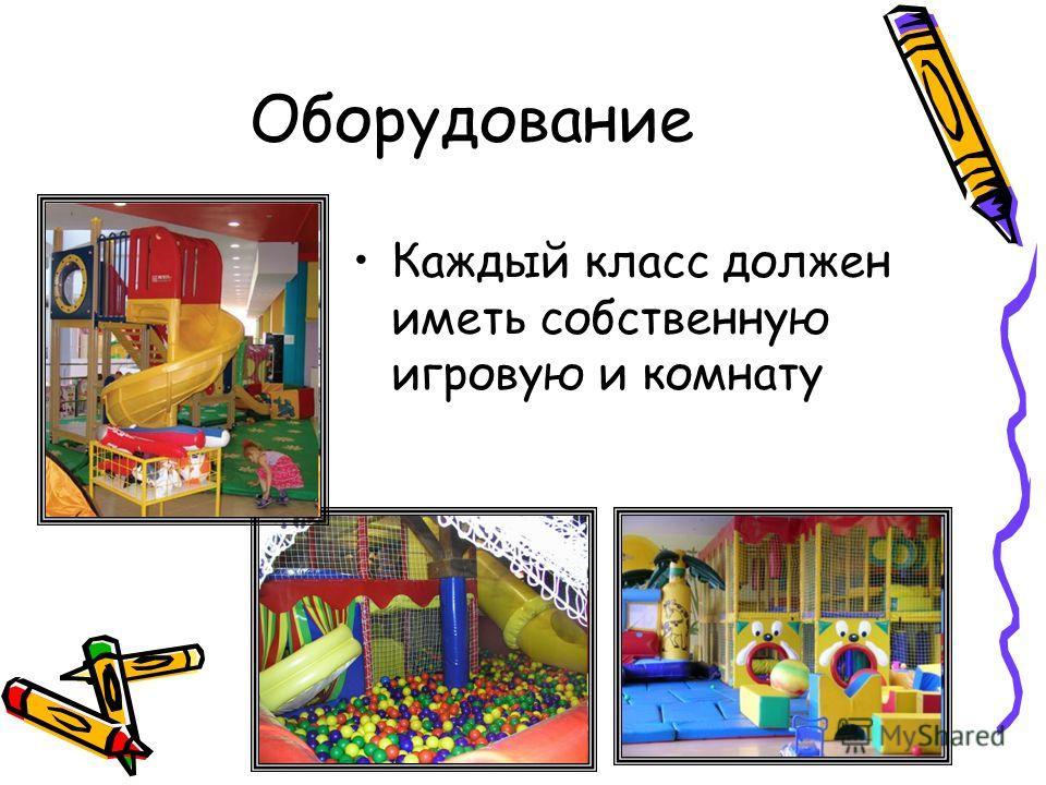 Оборудование Каждый класс должен иметь собственную игровую и комнату