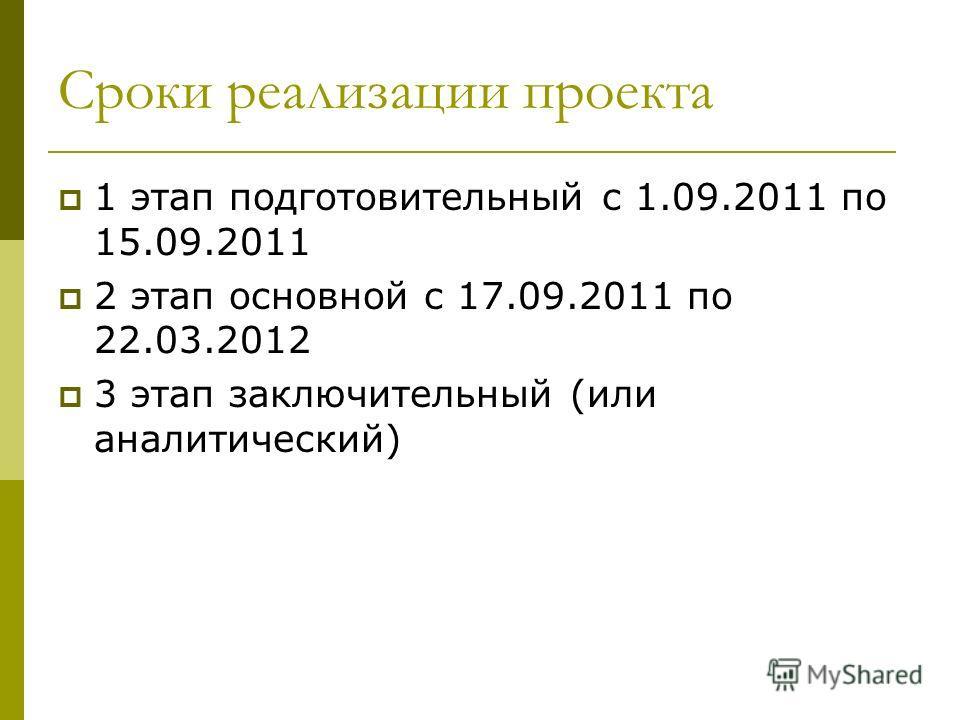 Сроки реализации проекта 1 этап подготовительный с 1.09.2011 по 15.09.2011 2 этап основной с 17.09.2011 по 22.03.2012 3 этап заключительный (или аналитический)