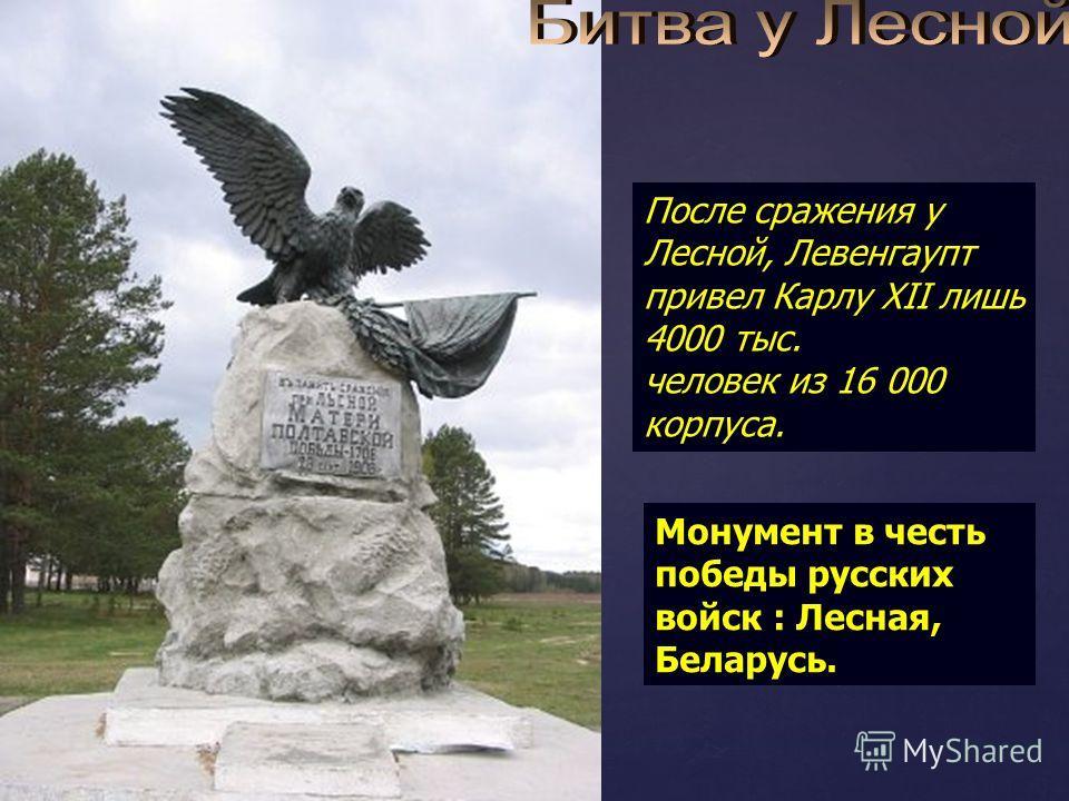 После сражения у Лесной, Левенгаупт привел Карлу XII лишь 4000 тыс. человек из 16 000 корпуса. Монумент в честь победы русских войск : Лесная, Беларусь.