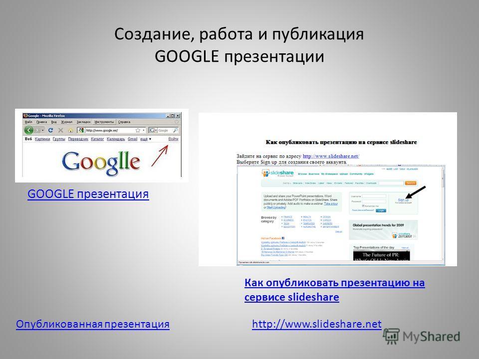 Создание, работа и публикация GOOGLE презентации GOOGLE презентация Как опубликовать презентацию на сервисе slideshare Опубликованная презентацияhttp://www.slideshare.net