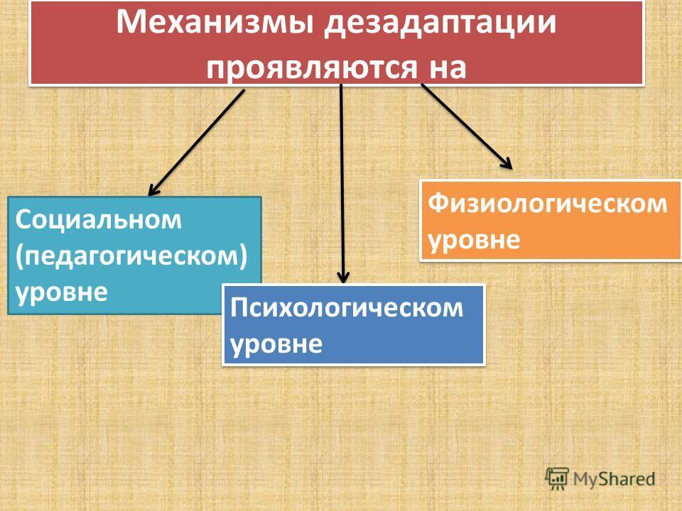 Механизмы дезадаптации проявляются на Социальном (педагогическом) уровне Физиологическом уровне Психологическом уровне
