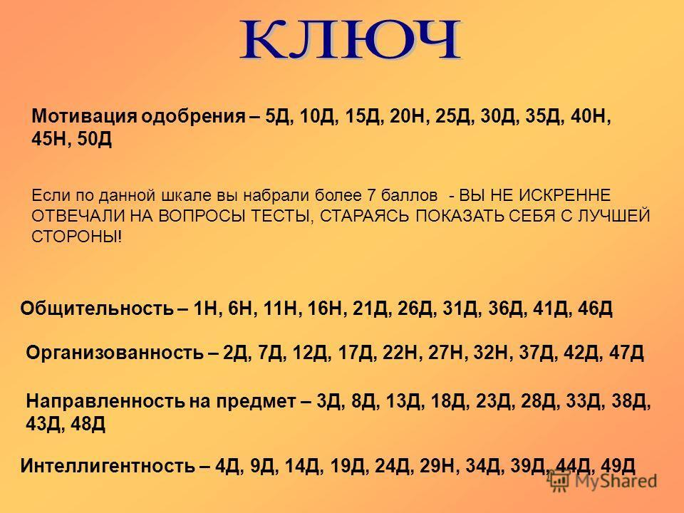 Общительность – 1Н, 6Н, 11Н, 16Н, 21Д, 26Д, 31Д, 36Д, 41Д, 46Д Организованность – 2Д, 7Д, 12Д, 17Д, 22Н, 27Н, 32Н, 37Д, 42Д, 47Д Направленность на предмет – 3Д, 8Д, 13Д, 18Д, 23Д, 28Д, 33Д, 38Д, 43Д, 48Д Интеллигентность – 4Д, 9Д, 14Д, 19Д, 24Д, 29Н,