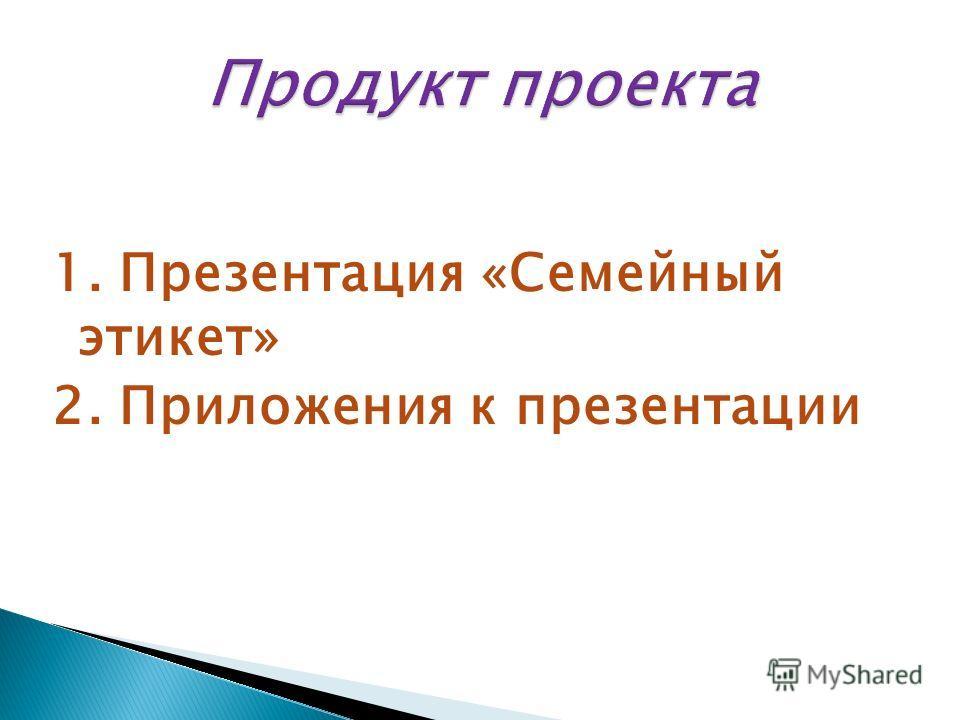 1. Презентация «Семейный этикет» 2. Приложения к презентации