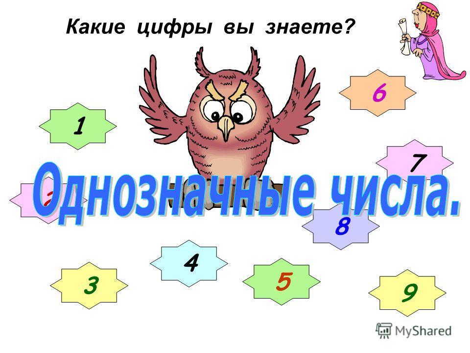 Какие цифры вы знаете? 1 2 3 4 5 6 7 8 9