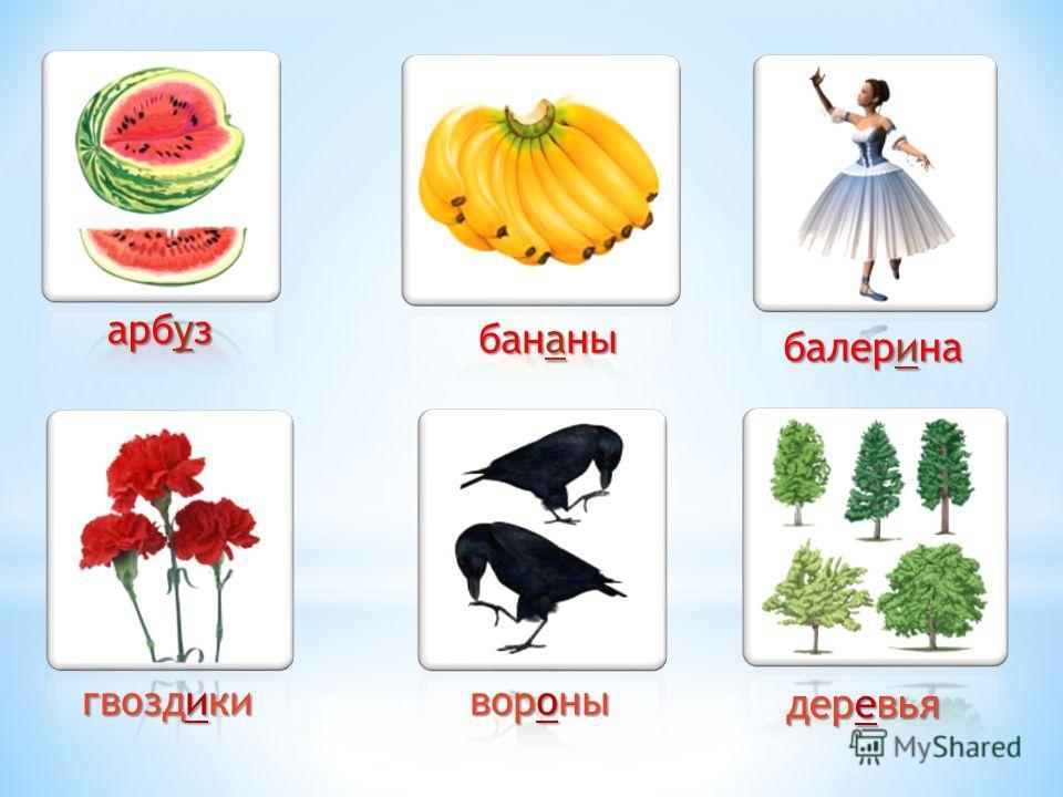 арбуз бананы балерина гвоздики вороны деревья