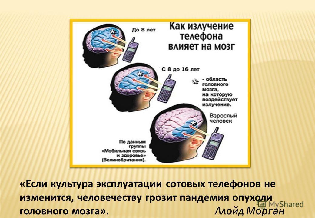 «Если культура эксплуатации сотовых телефонов не изменится, человечеству грозит пандемия опухоли головного мозга». Ллойд Морган
