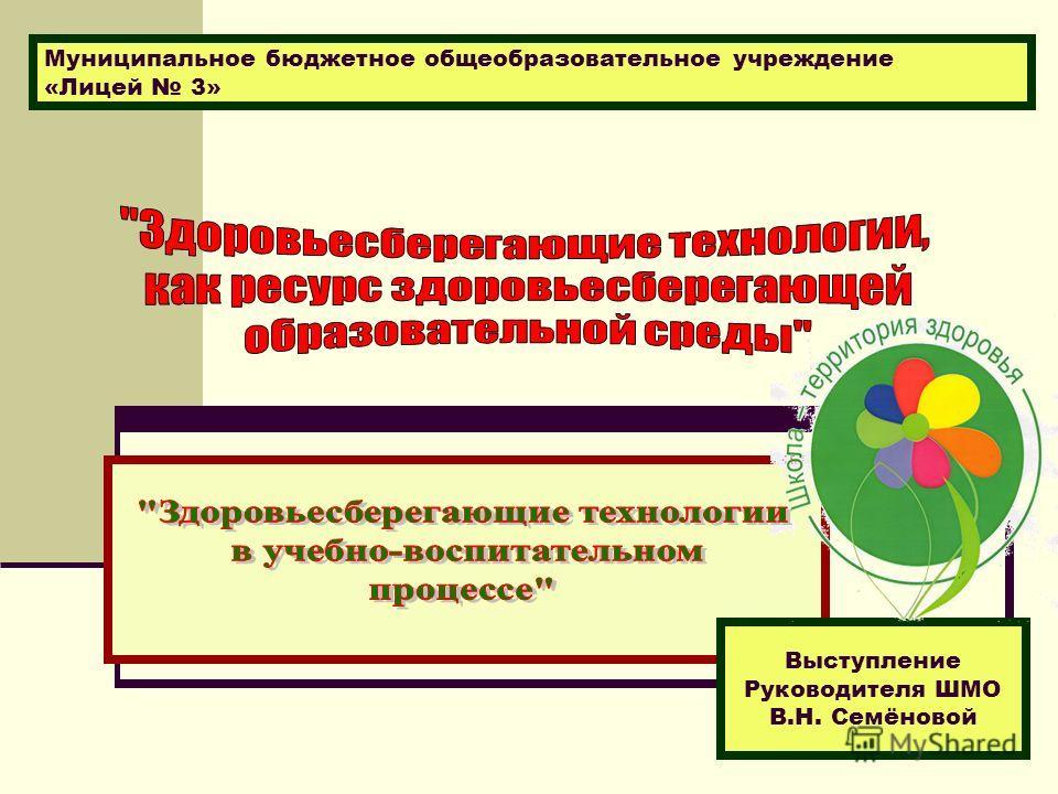 Выступление Руководителя ШМО В.Н. Семёновой Муниципальное бюджетное общеобразовательное учреждение «Лицей 3»