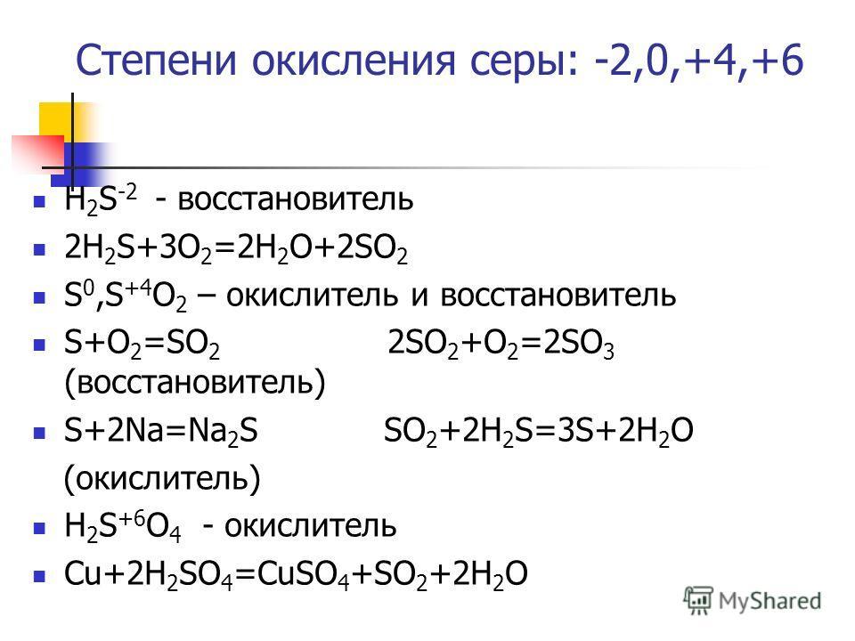 Степени окисления серы: -2,0,+4,+6 Н 2 S -2 - восстановитель 2Н 2 S+3O 2 =2H 2 O+2SO 2 S 0,S +4 O 2 – окислитель и восстановитель S+O 2 =SO 2 2SO 2 +O 2 =2SO 3 (восстановитель) S+2Na=Na 2 S SO 2 +2H 2 S=3S+2H 2 O (окислитель) Н 2 S +6 O 4 - окислител
