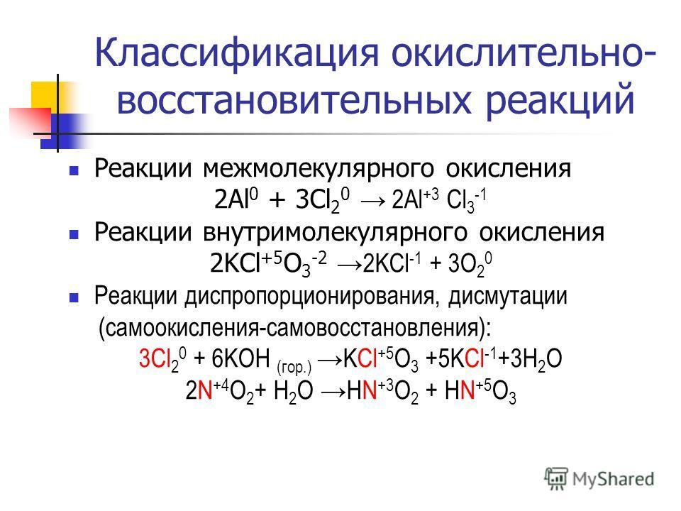 Классификация окислительно- восстановительных реакций Реакции межмолекулярного окисления 2Al 0 + 3Cl 2 0 2Al +3 Cl 3 -1 Реакции внутримолекулярного окисления 2KCl +5 O 3 -2 2KCl -1 + 3O 2 0 Реакции диспропорционирования, дисмутации (самоокисления-сам