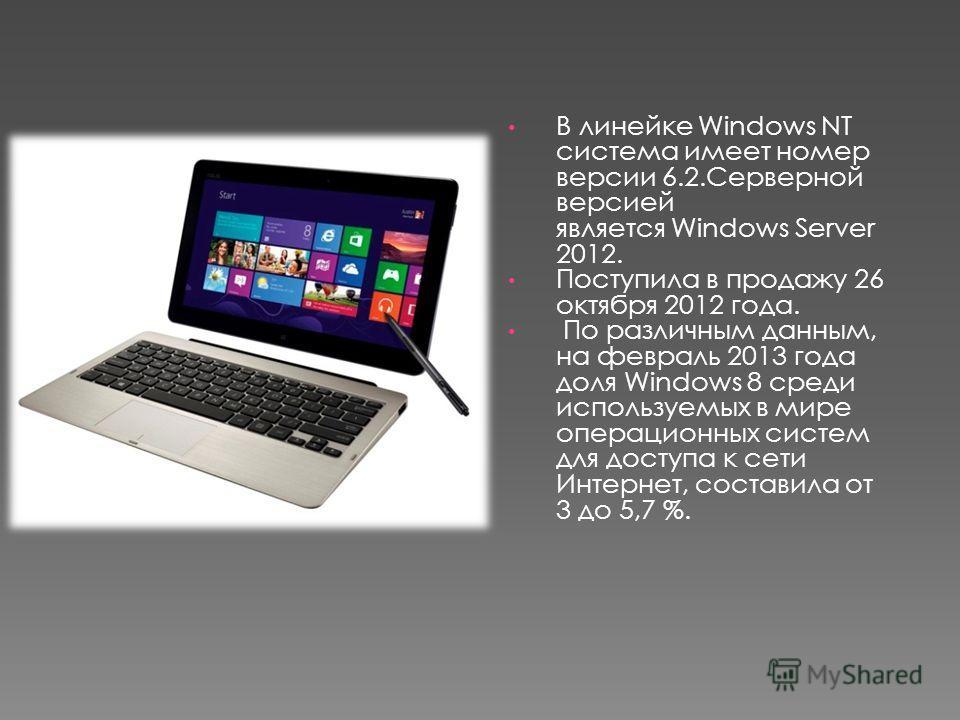 В линейке Windows NT система имеет номер версии 6.2.Серверной версией является Windows Server 2012. Поступила в продажу 26 октября 2012 года. По различным данным, на февраль 2013 года доля Windows 8 среди используемых в мире операционных систем для д