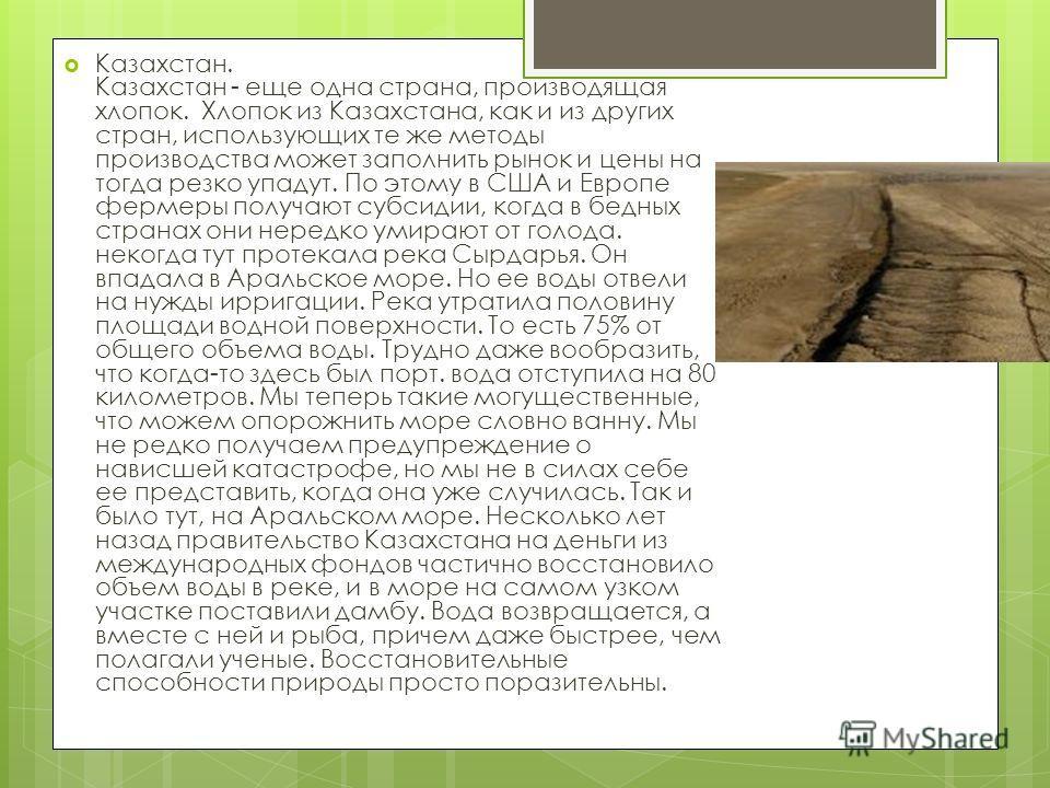 Казахстан. Казахстан - еще одна страна, производящая хлопок. Хлопок из Казахстана, как и из других стран, использующих те же методы производства может заполнить рынок и цены на тогда резко упадут. По этому в США и Европе фермеры получают субсидии, ко