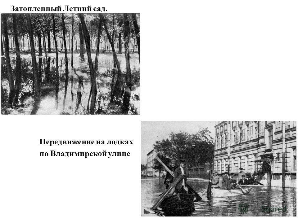 Затопленный Летний сад. Передвижение на лодках по Владимирской улице