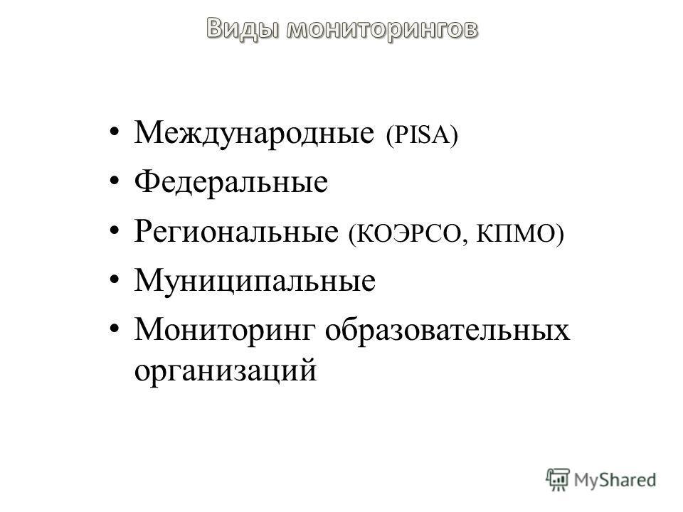 Международные (PISA) Федеральные Региональные (КОЭРСО, КПМО) Муниципальные Мониторинг образовательных организаций