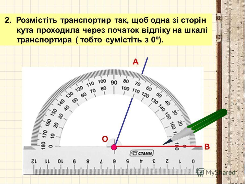 АЛГОРИТМ вимірювання кутів 1. Сумістіть вершину кута з центром транспортира. А В О