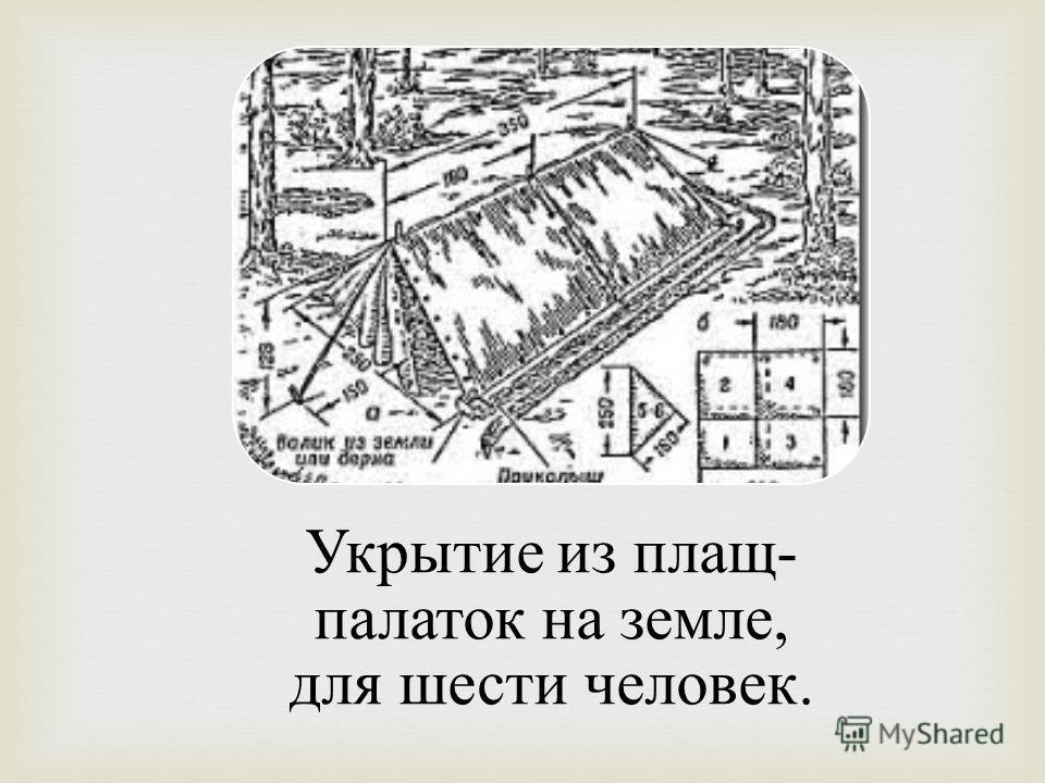 Укрытие из плащ- палаток на земле, для шести человек.