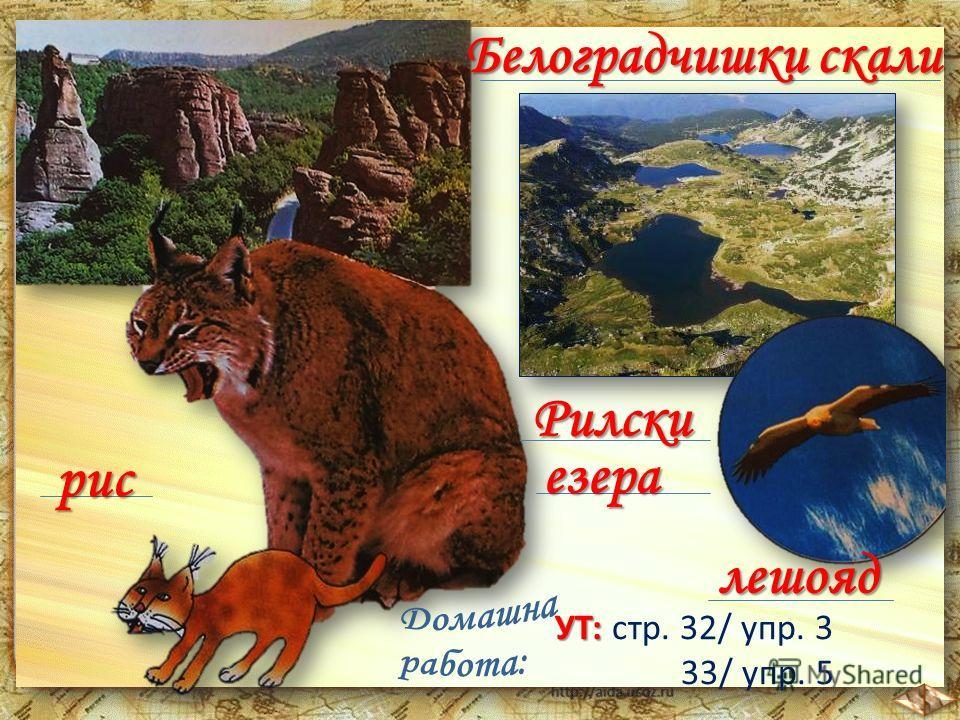 Белоградчишки скали рис Рилски езера УТ: УТ: стр. 32/ упр. 3 33/ упр. 5 лешояд
