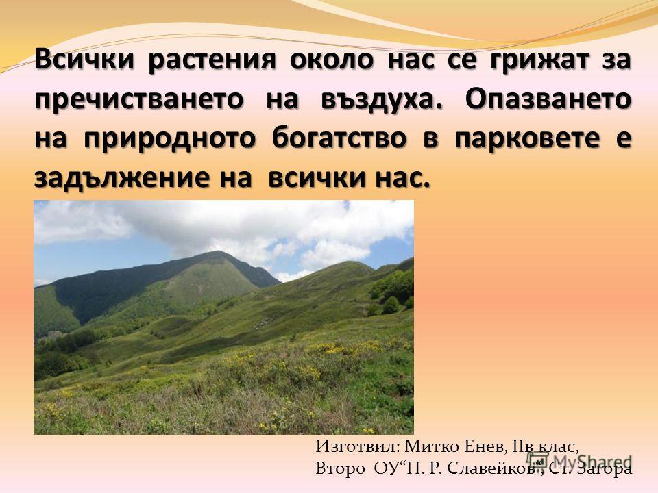 Всички растения около нас се грижат за пречистването на въздуха. Опазването на природното богатство в парковете е задължение на всички нас. Изготвил: Митко Енев, IIв клас, Второ ОУП. Р. Славейков, Ст. Загора