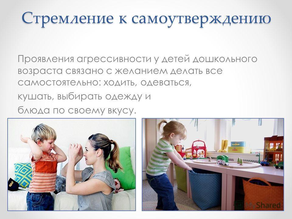 Стремление к самоутверждению Проявления агрессивности у детей дошкольного возраста связано с желанием делать все самостоятельно: ходить, одеваться, кушать, выбирать одежду и блюда по своему вкусу.