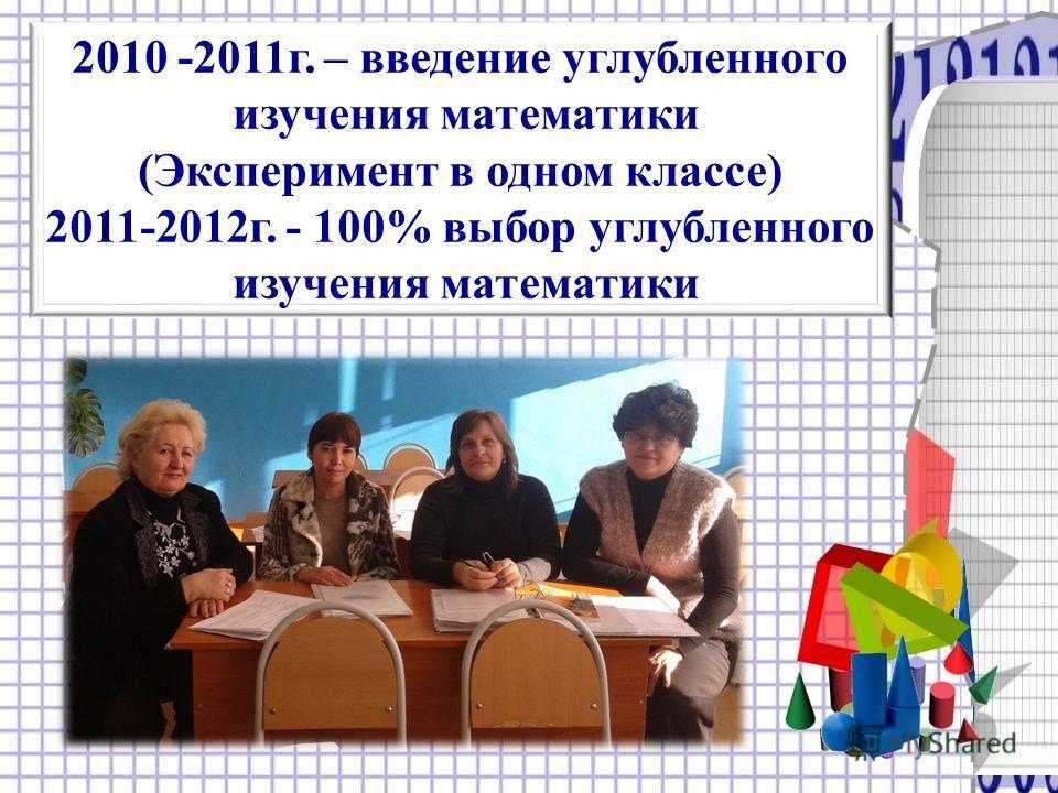 2010 -2011г. – введение углубленного изучения математики (Эксперимент в одном классе) 2011-2012г. - 100% выбор углубленного изучения математики
