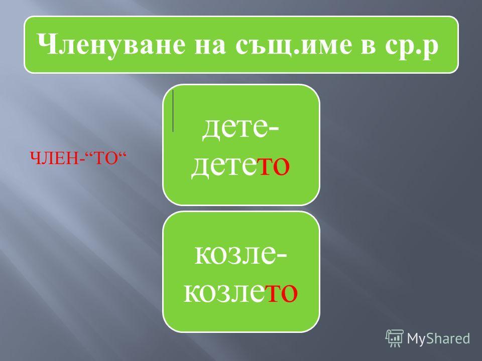 Членуване на същ.име в ср.р дете- детето козле- козлето ЧЛЕН - ТО