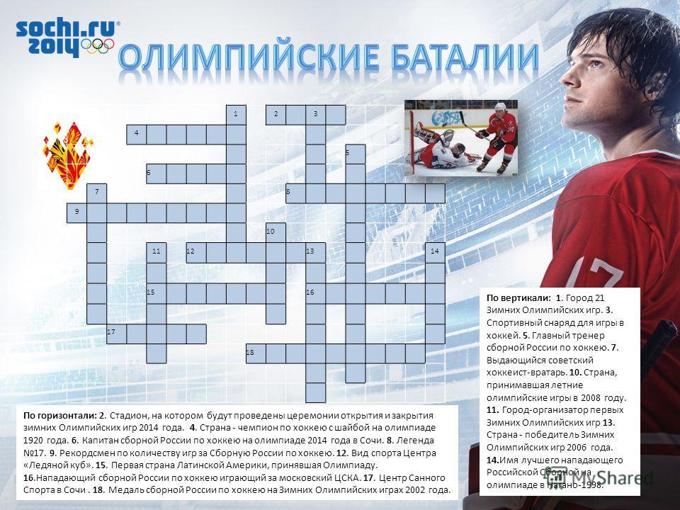 По горизонтали: 2. Стадион, на котором будут проведены церемонии открытия и закрытия зимних Олимпийских игр 2014 года. 4. Страна - чемпион по хоккею с шайбой на олимпиаде 1920 года. 6. Капитан сборной России по хоккею на олимпиаде 2014 года в Сочи. 8