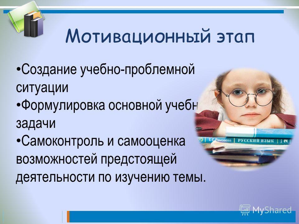 Мотивационный этап Создание учебно-проблемной ситуации Формулировка основной учебной задачи Самоконтроль и самооценка возможностей предстоящей деятельности по изучению темы.