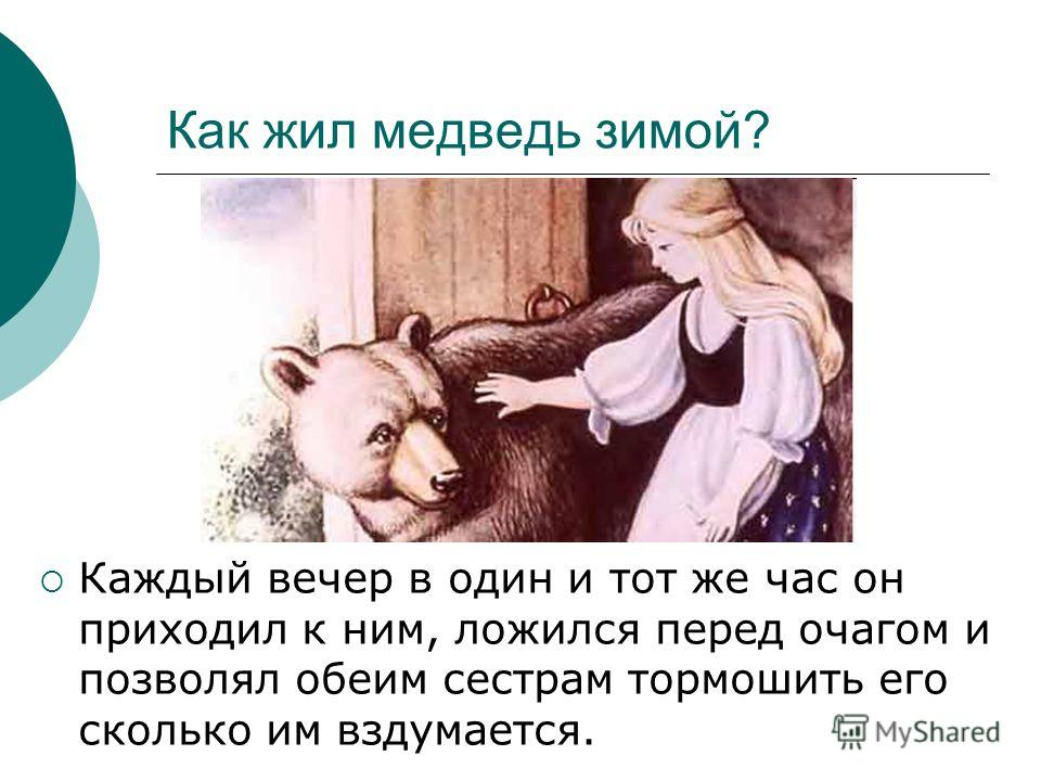 Как жил медведь зимой? Каждый вечер в один и тот же час он приходил к ним, ложился перед очагом и позволял обеим сестрам тормошить его сколько им вздумается.
