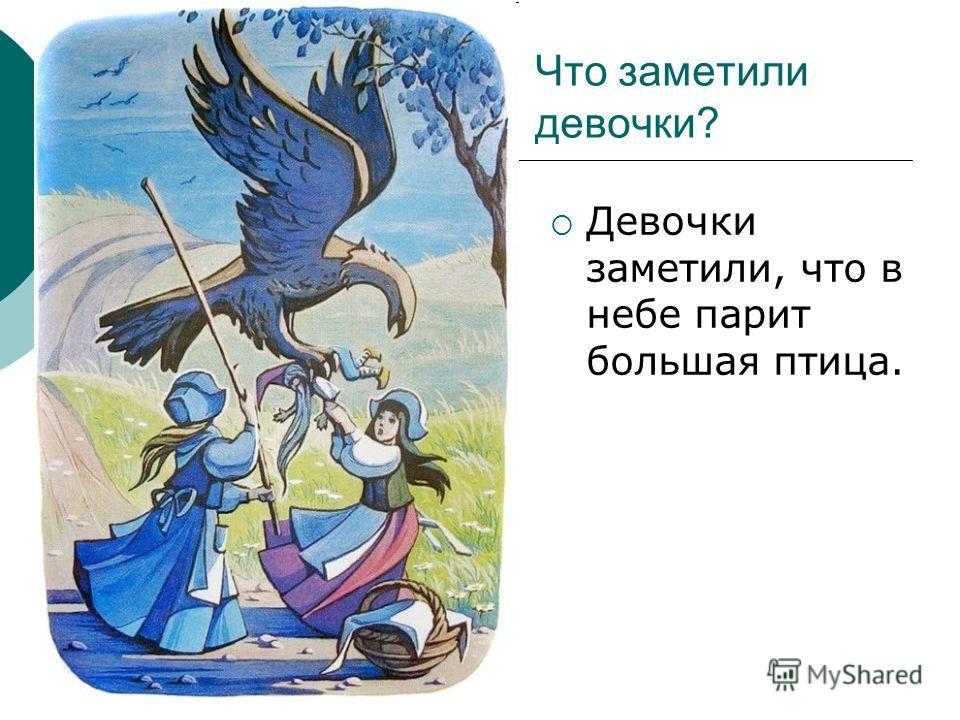 Что заметили девочки? Девочки заметили, что в небе парит большая птица.